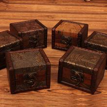 Caja pequeña Vintage de madera con diseño de moneda y flores, soporte para almacenamiento de pulseras y joyas, caja organizadora de maquillaje, Cofre del Tesoro para joyas
