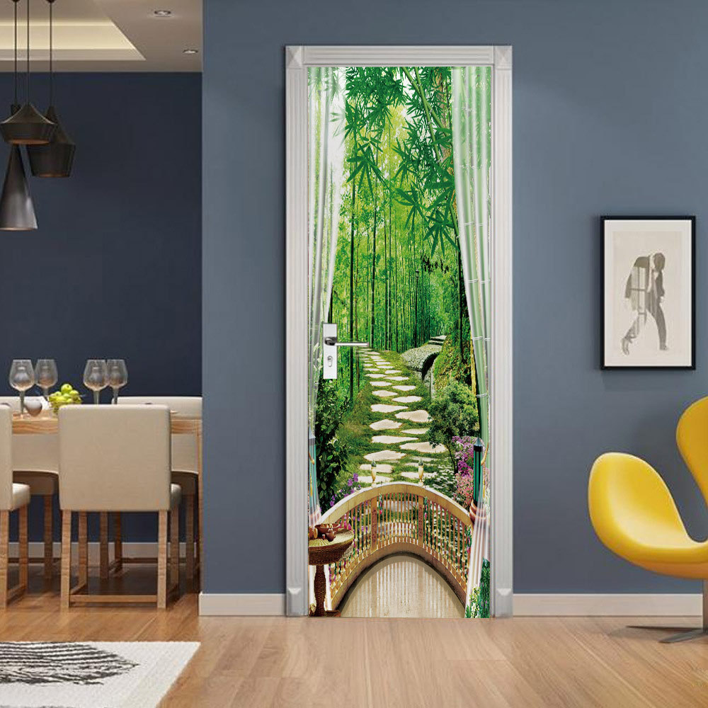 Balcony Bamboo Grove Forest Woods Door Sticker Living Room Hotel PVC Self-Adhesive Waterproof Wallpaper Home Decor Stickers