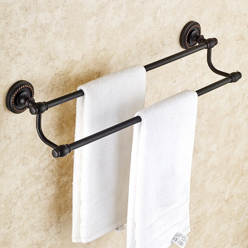 Oil Rubbed Bronze Bathroom Double Towel Bar Wall Mounted Towel Rack Bathroom Accessories KD655 in Towel Bars from Home Improvement