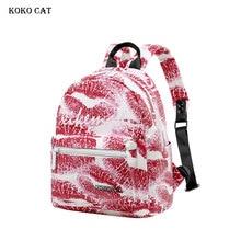 Cute Women Backpack Red Printing Bookbag Waterproof Teenager Knapsack Girls Schoolbag Mini Travel Backpacks Mochila Infantil
