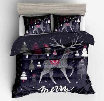 3d karikatür Noel süslemeleri geyik yumuşak yatak Pembe Siyah 2/3 adet yatak seti yumuşak Rahat nevresim yastık kılıf tam boy