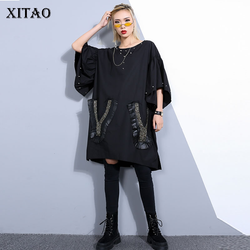 xitao Europe Fashion Female Spring Summer 2019 New Casual Dress Loose Short Sleeve O-neck Ruffles Button Nail Dress Zll2903 Honest