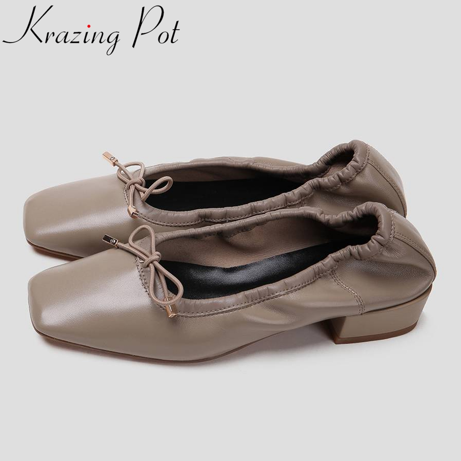 Hot selling soft genuine leather bowtie sweet princess style low heels square toe pretty girls ballet