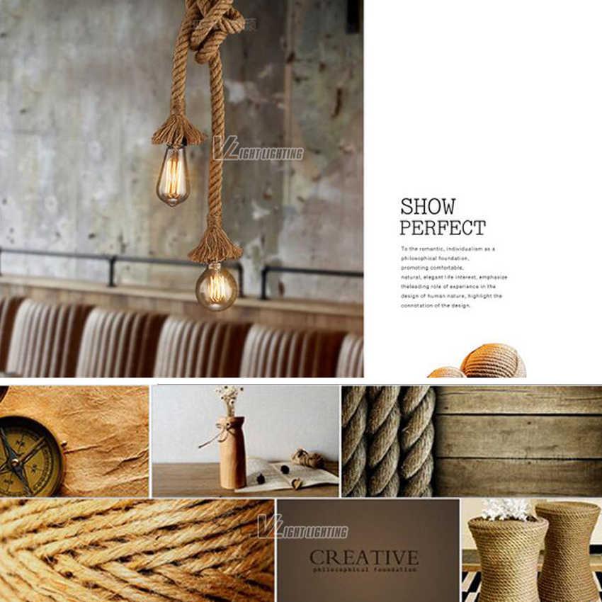 Винтаж веревки подвесные светильники Лофт Творческий промышленного Эдисон лампы Американский Стиль для ресторана/украшение для дома, ресторана