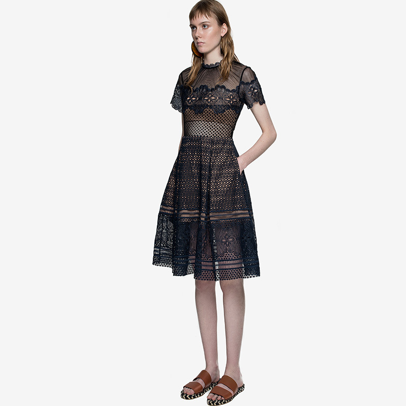 High-end custom  style  summer Runway Designer Women's Luxury  Short Sleeve Lace sexy club hollow out Dress