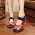 2016 New Arrive Women Canvas Flats Sunflower embroidery shoes Oxford embroidered canvas soft single flat shoes Size 34-41