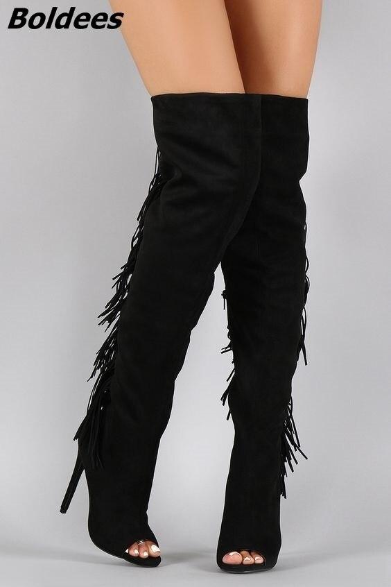 Black Suede Back Flowing Fringe Stiletto Heel Knee High Boots Woman Peep Toe Side Zip Long Boots fancy women brown suede flowing fringe stiletto heels mid calf boots round toe platform tassel side zip long boots new design