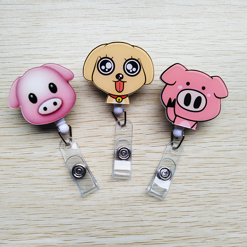 1 Pcs / Lot New Acrylic Cartoon Animal  Retractable Pull Badge Reel ID Name Tag Card Nurse Badge Holder 2019 Lovely Kids Reels