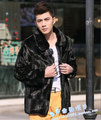 European and american minimalist style men fur jacket high quality fur trench coat men slim chaqueta hombre men's clothing /MY5