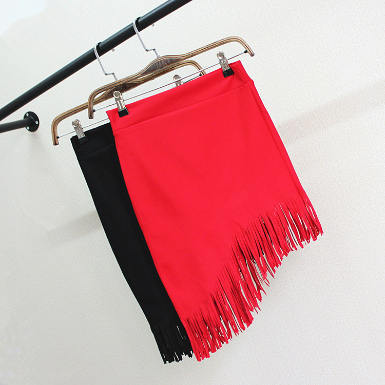 2016 Women Cotton Skirt Tassel Red Black Female Kilt Oblique Angle Skirts Revival Saias Midi Fitness Faldas Skrit ...
