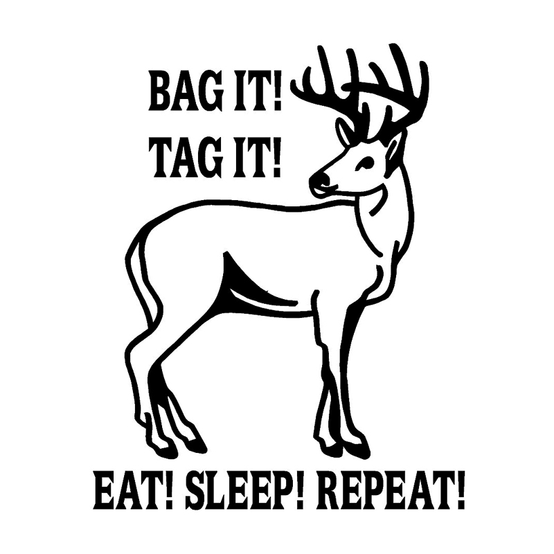 13cm*16.3cm Bag It Tag It Eat Sleep Repeat Hunting Animal Car Stickers Decals S4-0899