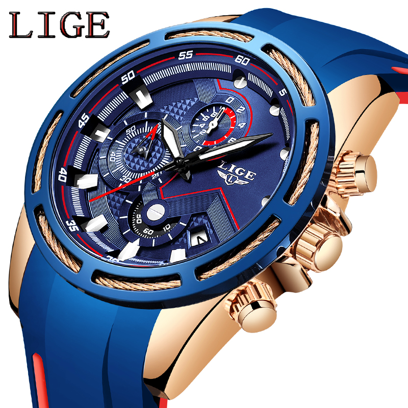 LIGE New Fashion Mens Watches Top Brand Luxury Silicone Strap Chronograph Quartz Watch Men Casual Waterproof Sport Watch RelojeLIGE New Fashion Mens Watches Top Brand Luxury Silicone Strap Chronograph Quartz Watch Men Casual Waterproof Sport Watch Reloje
