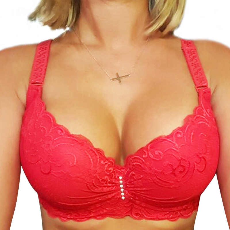New Plus Size Bra Ultrathin Lace Bralette For Woman Racerback Push Up Cotton Brassiere Underwire C D E Cup Bras Underwear 105E
