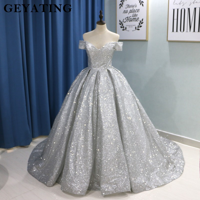 Sparkly Glitter Ball Gown Prom Dresses 2019 Luxury V Neck Long Train Party Gowns Corset Back Off The Shoulder Vestidos de festa gown