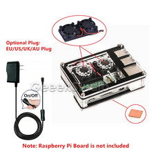 Best Buy Dual Fan Double Cooling Fans Kit With Sliced 9 Layers Acrylic Case Box & 5V 2.5A Power Adapter for Raspberry Pi 3/2 Model B/B+
