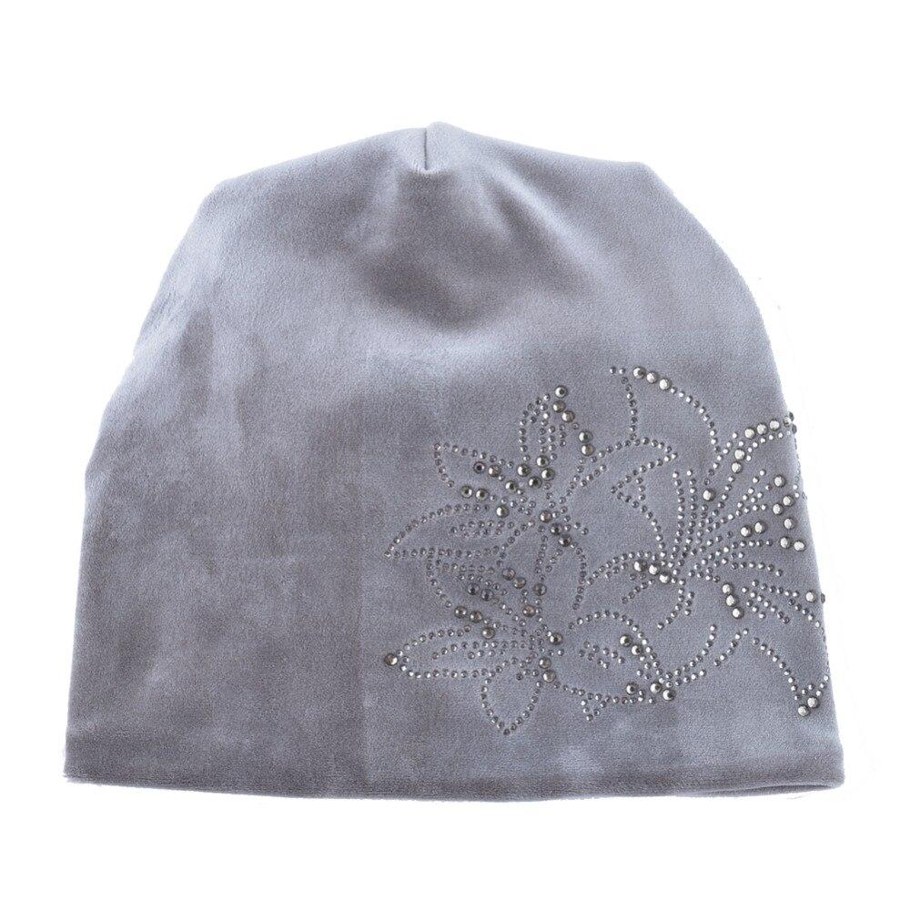 Women's Fashion Rhinestone Flower Hat Scarf Winter Warm Beanies Scarves Set For Girls Thick Velvet Bonnet Femme Skullies Caps 1