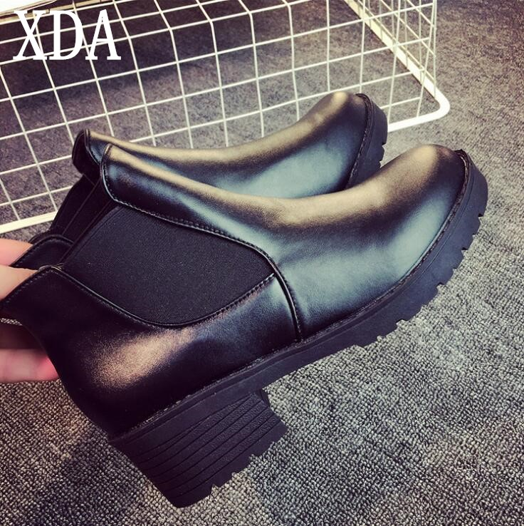 XDA 2018 New Hot Style Fashion Women shoes Round Head short boots PU mid heel Woman martin boots Spring Autumn ankle boots F363 цена 2017