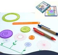 Increíble espiral dibujo Juguetes variedad multifuncional creativo engranaje DIY pintura flores Juguetes conjunto regla mágica Aprendizaje y educación