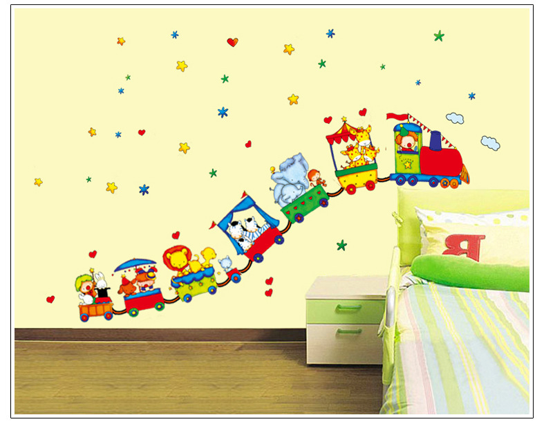 Gratis frakt Djur Circus Train Barn DIY Flyttbara Väggdekaler Parlor Kids Bedroom Home House Decoration TC990