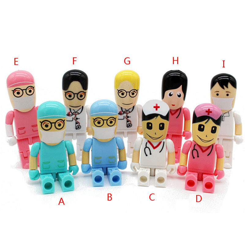 Mini Doctors Usb Flash Drive Real Capacity Doctor Nurse Shape 8G/16G/32G/64G Memory Stick