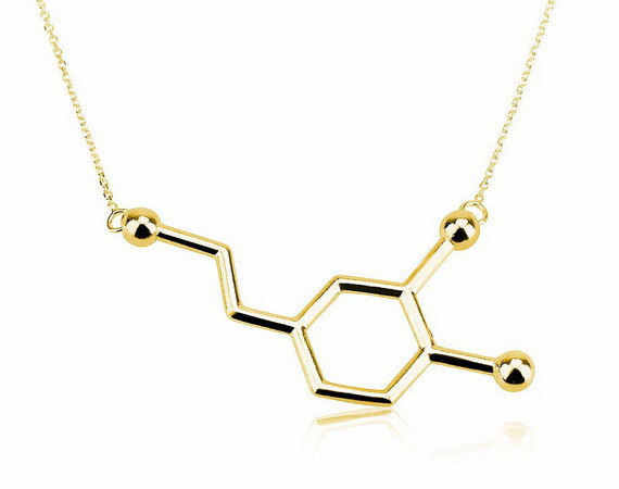 Oly2u New Dopamine Molecule Dainty Necklaces for Women Elegant Long Chain Small Pendant Chemistry Necklace Jewelry -N140