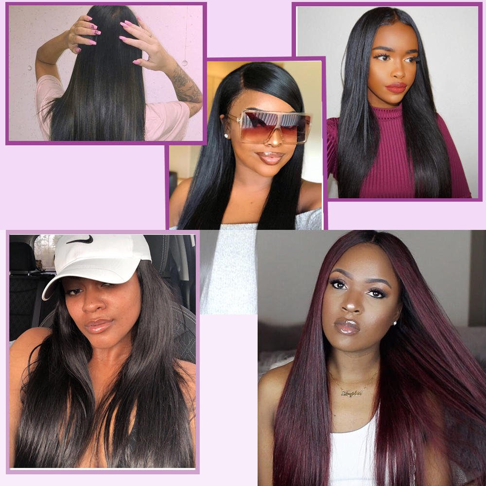 Nadula Hair  Straight Hair s 3pcs Hair Bundles Machine Double Weft 100% Human  Hair Bundles 6