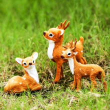 1pc 8cm/11cm/14cm Mini Simulation Deer Plush Toy Sika Christmas Decoration Animal Doll Gift Kids