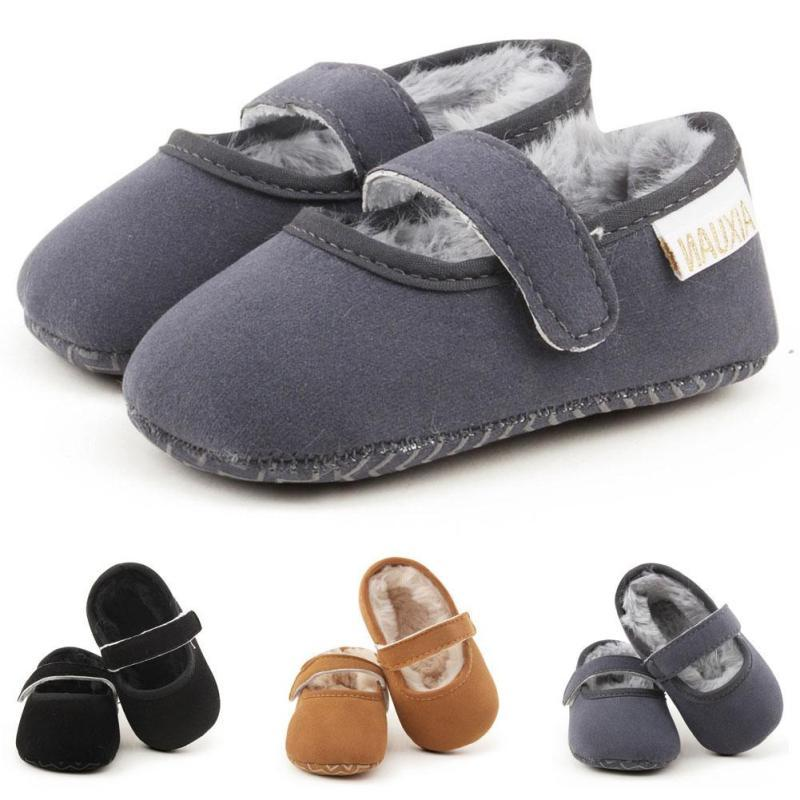 Cashmere baby boy walker Winter infant girls Moccasins Moccs Shoes Soft Soled Boots Newborn Non-slip warm home Crib Shoes D15