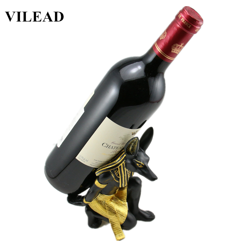 VILEAD 7 Resin Anubis God Wine Rack Figurines Egypt Dog Miniatures Statue for Vintage Home Decor Creative Crafts Gifts