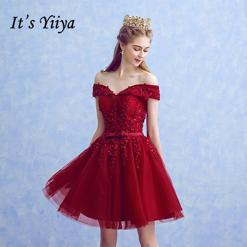 It's YiiYa 2018 New Boat Neck Simple Knee Length Flowers Lace Bow Dinner   Bridesmaid     Dresses   Party Short Formal   Dress   LX242