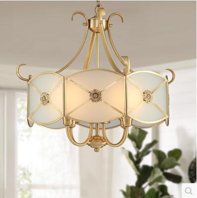 Full copper chandelier European restaurant bar counter American bedroom study luxury bronze chandelier CL