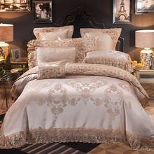 2018 Luxury European Light Tan Bedding Set Silk Cotton Blend Jacquard King Size Duvet Cover Flat Sheet Bedspread Pillow Cases