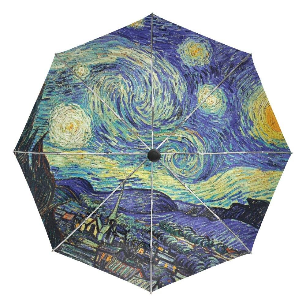 Rivestimento esterno Nero Ombrello Pittura Opere D'arte Van Gogh Notte Stellata Ombrelli Anti UV Parasol 3 pieghevole Uomini Automatici Ombrello