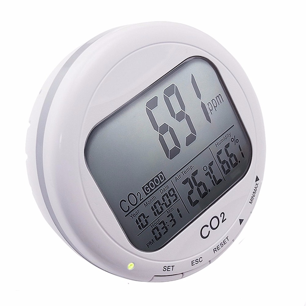 Portable Digital 3-in1 Round Desktop Indoor Air Quality Temperature Humidity RHCarbon Dioxide CO2 Monitor Meter Clock 0~2000pp