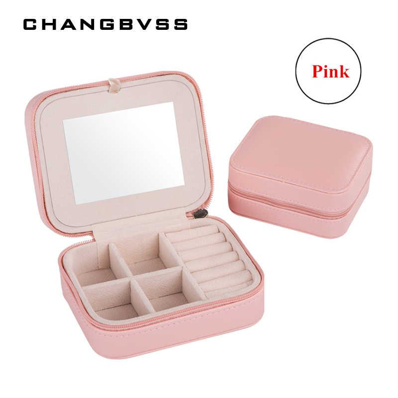 صندوق مجوهرات صغير للمرأة منظم ماكياج للسفر النعش من الجلد الصناعي مع سحاب حافظة مجوهرات كلاسيكية رخيصة