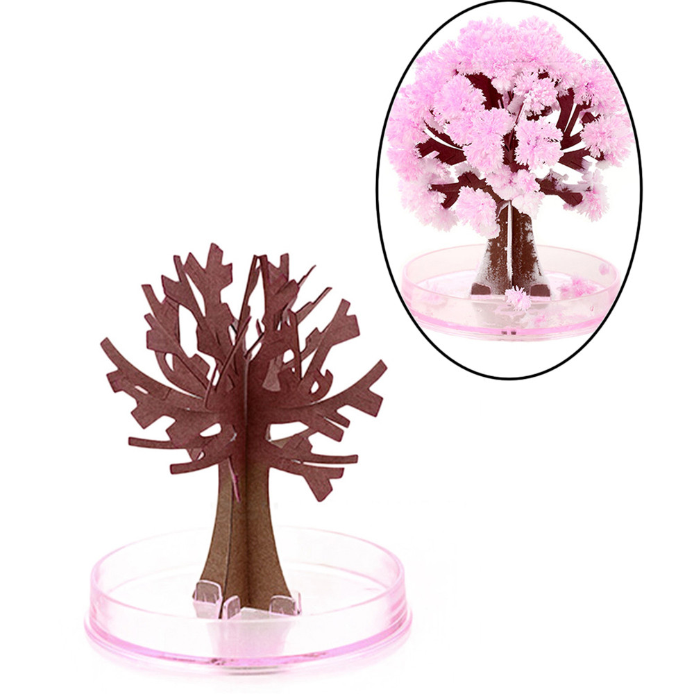 Toys & Hobbies Practical Paper Tree Flowering Diy Small Magic Tree With White Chassis Magic Funny Toy Watering Growing Paper Artificial Sakura Tree Decor