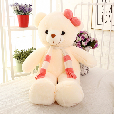 100% new style large 70cm white teddy bear with pink scarf plush toy doll soft throw pillow Christmas gift b1249 100 cm pink or blue scarf bear plush toy teddy bear doll gift w4098