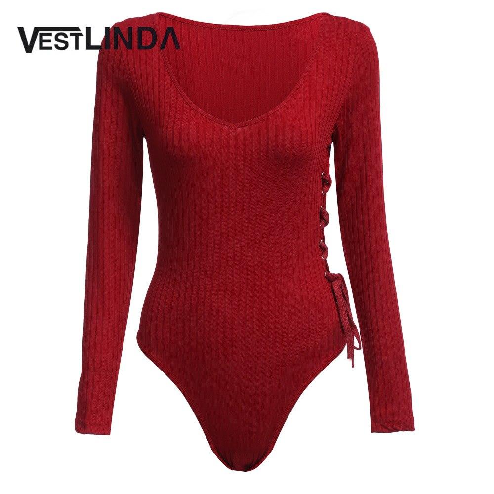 VESTLINDA Novelty Women Sexy Romper Autumn Long Sleeve Knitted Jumpsuits Sheath Beside Bandage Design Women Bodysuits