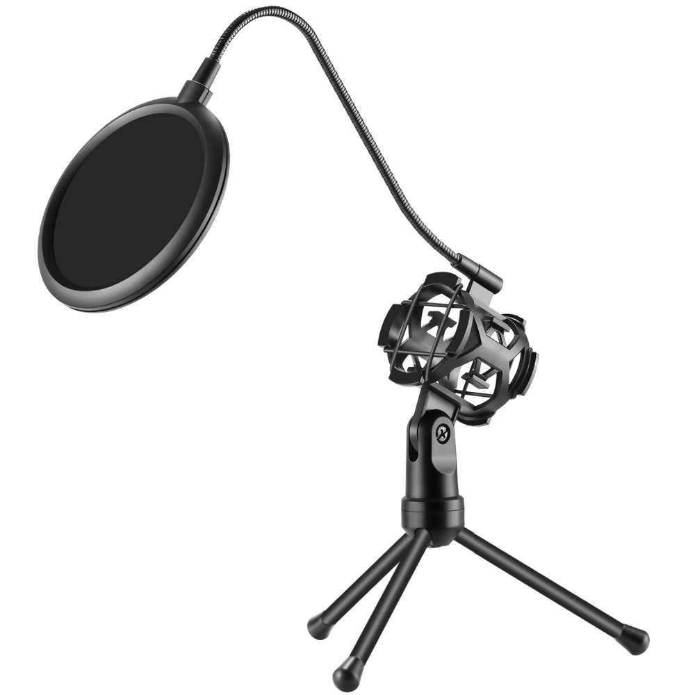Neewer Pro Desktop Microphone Tripod Stand with Shock Mount Microphone Holder and Pop Filter Mask Shield for Studio Vocal Record