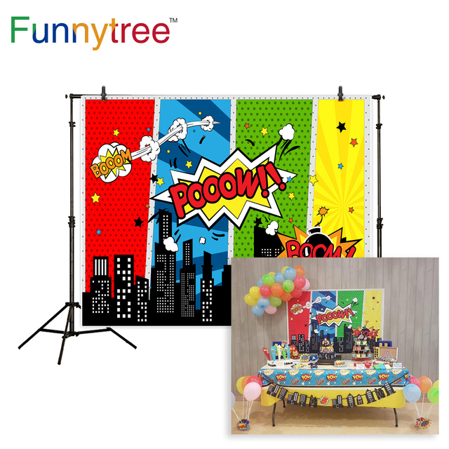 Funnytree birthday backdrop for photographic studio super hero comic city cartoon children photography background photo prop