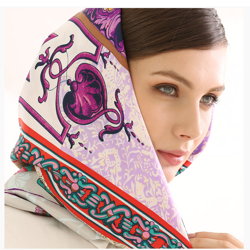 BAOSHIDI Luxury Brand original design Pure Silk Twill Women 132 132 Square Pattern Scarf manual made