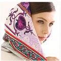 BAOSHIDI Luxury Brand original design, Pure Silk Twill Women 132*132 Square Pattern Scarf ,manual made, shawl wrap, hijab scarf
