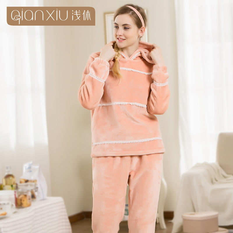 Qianxiu pajama set for woman flannel hooded Lovely thicken Warmth sleepwear lace V-neck dressing gown pure color home clothing