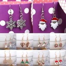 Sale Women Crystal Claus Snowman Dangle Earrings Jewelry Muti-Color Ear Drop Christmas Drop