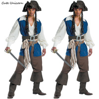 Men Pirate Jack Costume Halloween Carnival Buccaneer Uniforms Party Fancy Dress Pirates Of The Caribbean Cosplay
