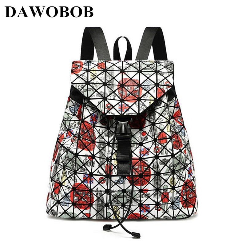 New Fashion Small Women Leather Backpack BaoBao School Bags For Teenage Girls Mochila Women Foldable Geometric Backpack hot sale women s backpack the oil wax of cowhide leather backpack women casual gentlewoman small bags genuine leather school bag