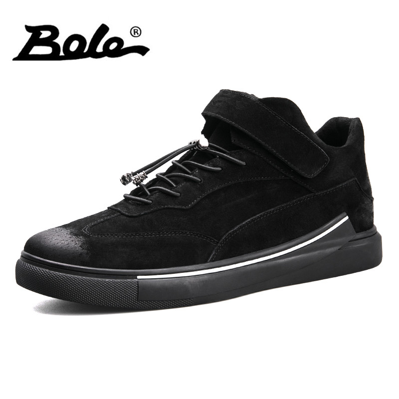 BOLE Men Leather Sneakers Cow Suede Breathable Flat Shoes for Men Handmade Men Lace Up and Hook&loop New Design Leather Shoes simple pu leather and lace up design sneakers for women
