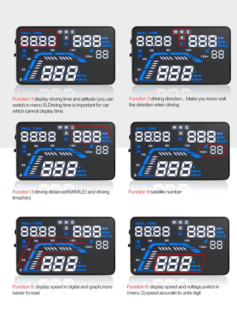 Universal Q7 5.5 Auto Car HUD GPS Head Up Display OBD II 2 Overspeed Warning Alarm Dashboard Windshield Project Speedometers-14