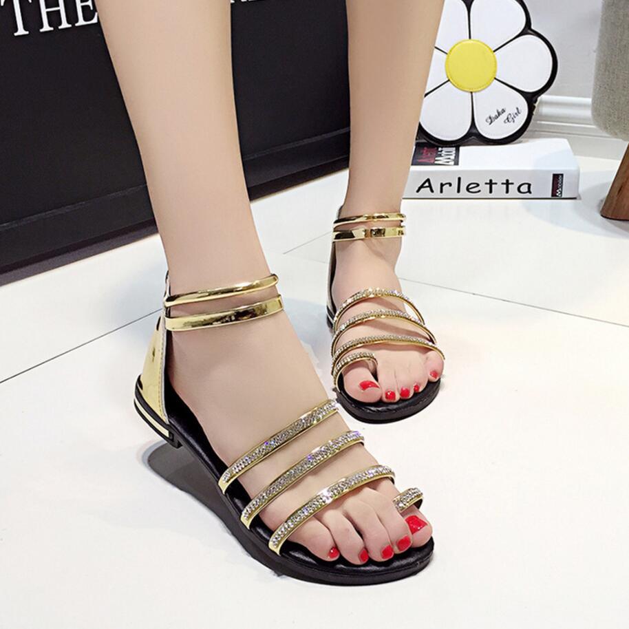 Womens sandals narrow - W Skim Pa Mie Sanda Y Roman Style Kobiety Kryszta Srebrny Z Oty Klip Toe Gladiator Sanda Y Kobiety Japanned