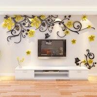 3D Wall Sticker Romantic Flower Sticker Living Room Wall Decals TV Background Decoration Maison Modern Wall Stickers Art Decals